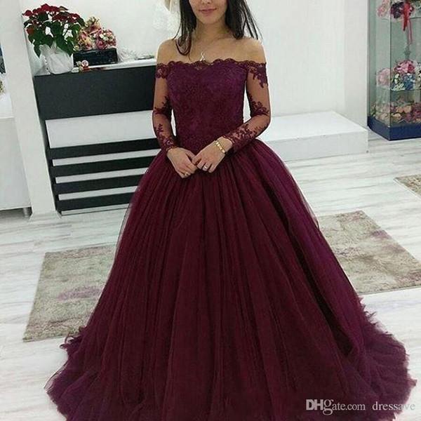 Burgundy Cheap Ball Gown Quinceanera Dresses Off Shoulder Long Sleeves Sweep Train Sweet 16 Dresses Prom Dresses vestidos de quinceanera