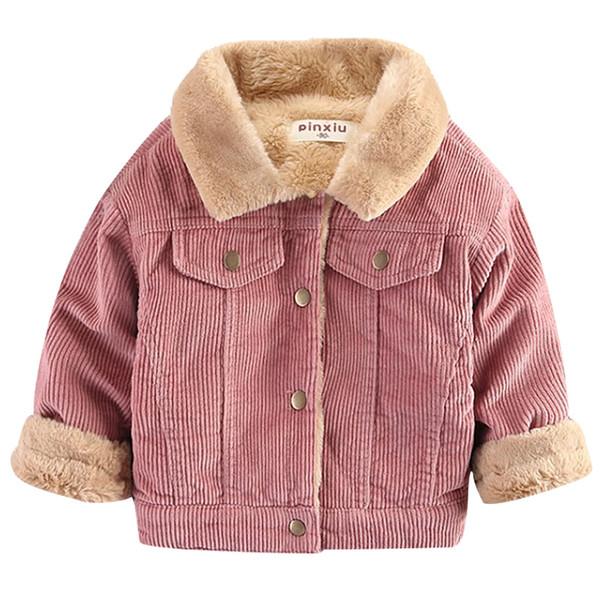 Sonbahar kış çocuk giyim ceket erkek kız sıcak ceket çocuk bebek tavşan peluş kalın ceket 2018 yaka kadife coatMX190916