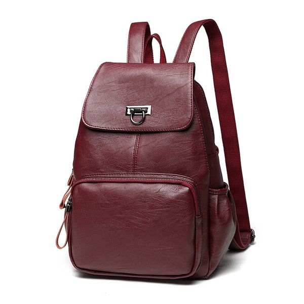 Fashion Korean Waterproof Sheepskin Genuine Leather Backpack Women Galaxy Backpacks For Girls Daypack Female Wine Red Rucksacks #193354