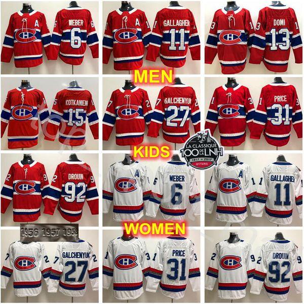 Compre Montreal Canadiens Jerseys Hockey 11 Brendan Gallagher 13 Max Domi Carey Price Alex Galchenyuk Shea Weber Jonathan Drouin Jesperi Kotkaniemi De