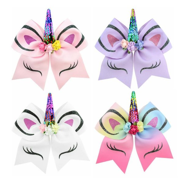 free shipping 5pcs 7-8'' Girl Sequin Unicorn Party Cheer Bows Large Unicorn Cheer Bows Hair Bows With Elastic Band Ponytail Holder for