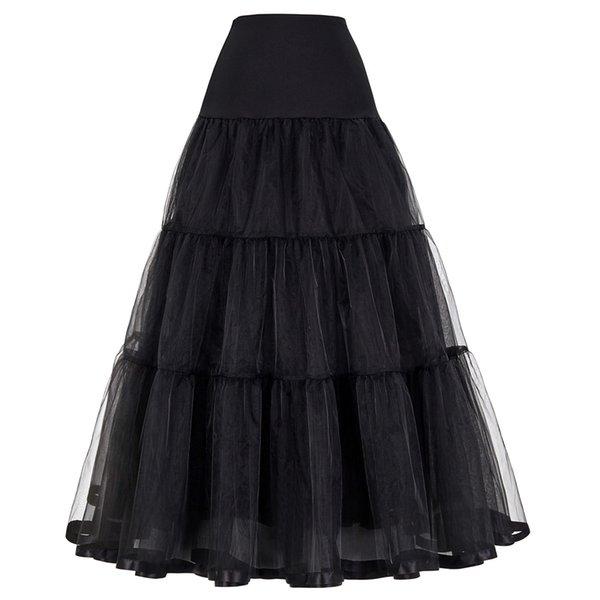 Femmes Noir Rouge Rétro Jupe Pour La Mode De Mariage Vintage Jupes Longues Crinoline Sous-jupe Robe De Bal Empire Voile Tulle Jupon