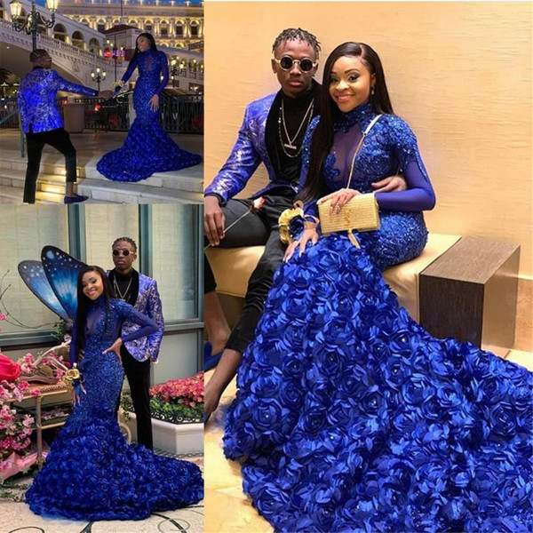 Royal Blue Mermaid Prom Dresses Long Sleeve Lace Appliques High Neck Plus Size Evening Gowns South African Caftan Abendkleider Formal Wear