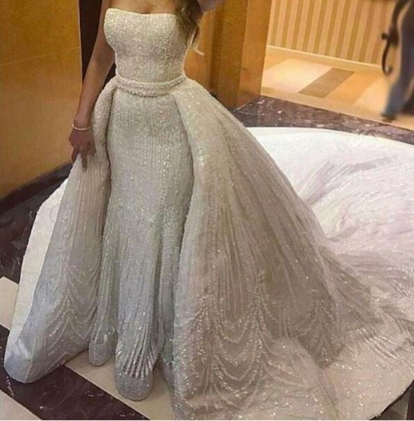 Evening dress Long dress Sleeveless Crystal With trail Backless Strapless Tulle White Sheath Classic Customizable in any size Modern 1423