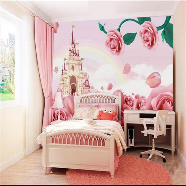 Custom Size 3d Photo Wallpaper Living Room Kids Room Mural Rose Flower Castle Rainbow Picture Sofa Tv Backdrop Wallpaper Non Woven Sticker Desktop