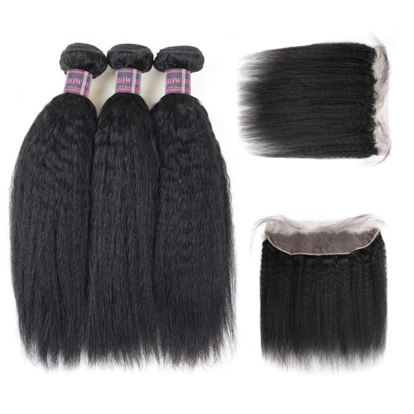 Yaki Straight Virgin Hair Extensions Ishow Human Hair Bundles With Closure Wholesale Cheap Brazilian Hair 3Bundles With Lace Frontal