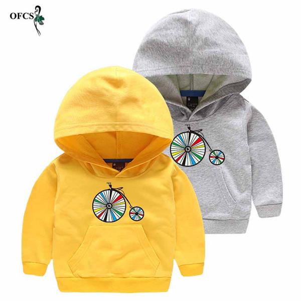Wholesale Retail ropa del bebé de los suéteres de deportes de ocio para niños muchachas de los Hoodies Prendas de abrigo con mangas largas camisetas de algodón 90-130