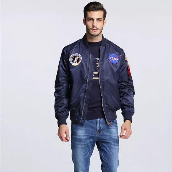 Wholesale- High Quality Navy flying jacket,Nylon Winter varsity american college bomber flight jacket for men