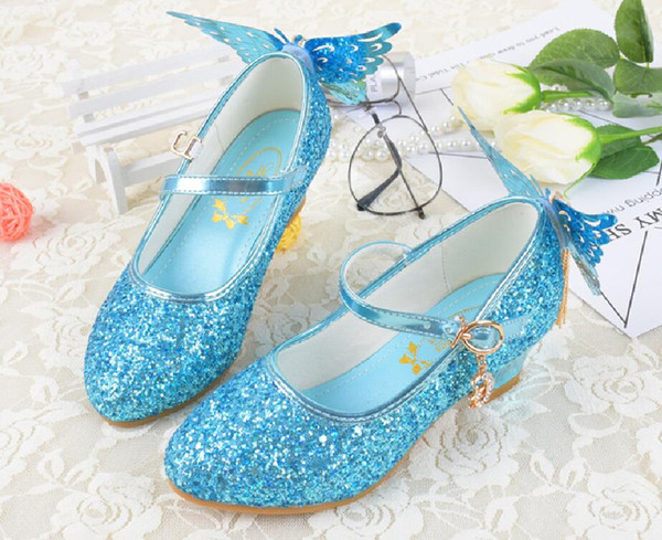 Lovely Pink Blue White Flower Girls' Shoes Kids' Shoes Girl's Wedding Shoes Kids' Accessories SIZE 26-37 S321006