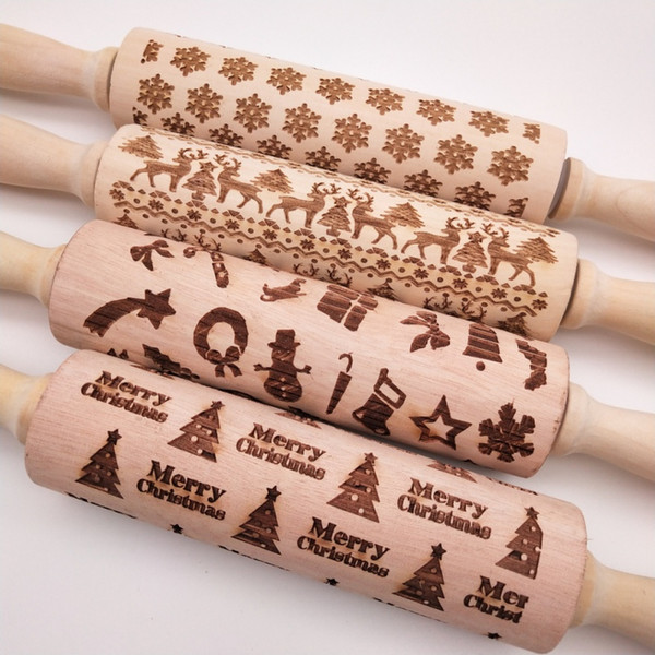 Natale in rilievo mattarello inciso in legno intagliato biscotti di cottura biscotto fondente torta pasta rullo renna fiocco di neve