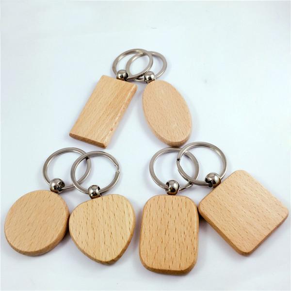 купить оптом 100 штлот натурального дерева брелок бесплатно для Diy 1 сторона логотип бук деревянный брелок квадрат круглый сердце форма древесины
