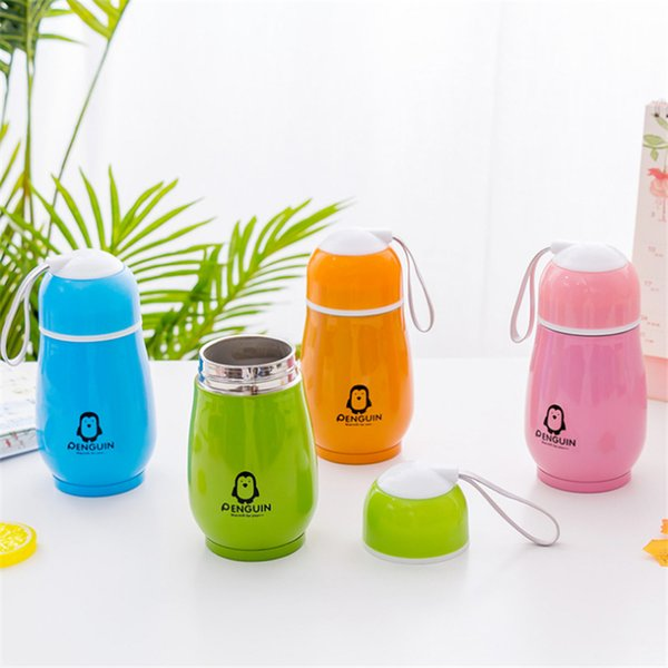 300ml Penguin Water Bottle Stainless Steel Double Layer 4 Colors Tumblers Cute Vacuum Flask Thermos Cup Home Office Travel Drinking Bottle
