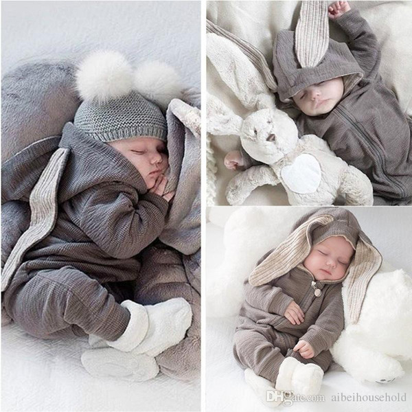 top popular Spring Autumn Kids Infant Cartoon Hooded Onesies Lop Rabbit Romper Long Sleeve One-piece Jumpsuit Newborn Baby Boy Girl Creeper Clothing 2019