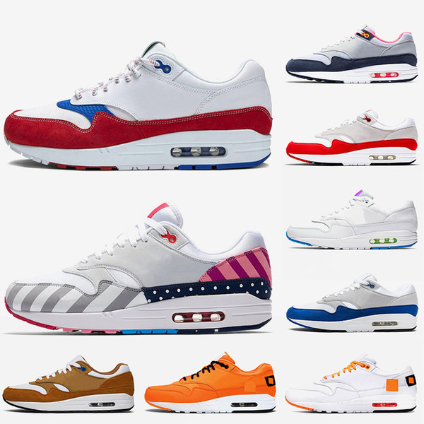 Brand Cushions Maxes 1 Atmos Running Shoes Anniversary OG Red Orange White Royal Blue Animal Pack Bred Parra NIK Air Trainers Sneakers