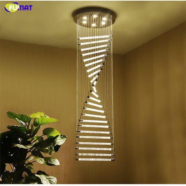 FUMAT K9 Crystal Stair Chandeliers GU10 LED Modern Spiral Art Deco Suspension Lighting Hotel Villa Hanging Lamp
