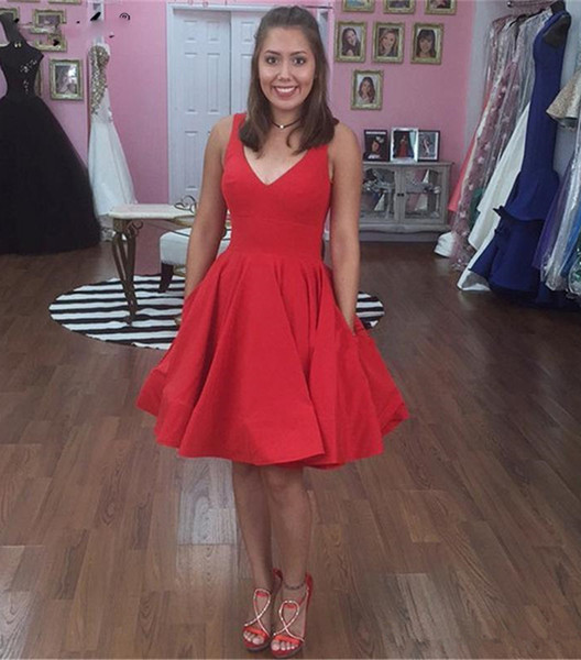 Simple Red A Line Homecoming Dresses with Pockets V Neck Maid of Honor Bride Dress Cheap Short Prom Party Gowns
