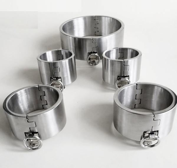 5CM Altura Sm Juguetes sexuales de lujo de acero inoxidable para trabajo pesado collar collar Espejo puños de hierro grueso Fetter bloqueo del pulido de alta calidad 5PCS