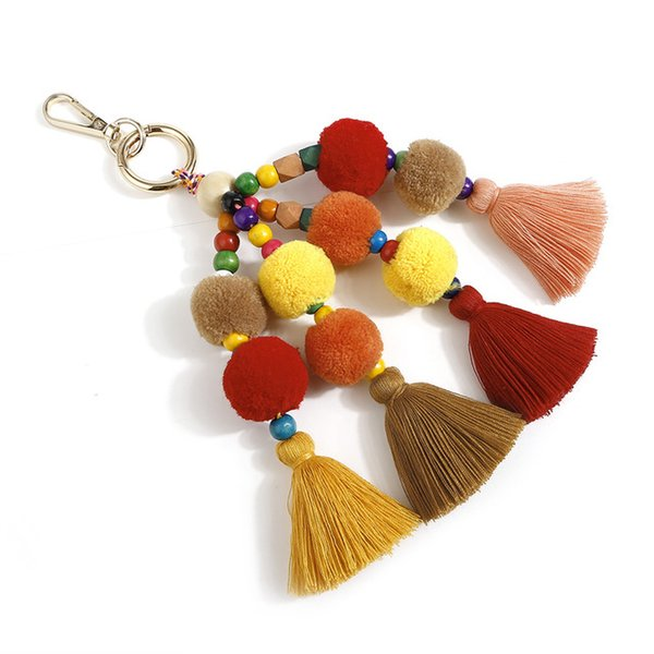 Original Keychain + Keyring Dual Bohemian Fringe Hairball Pendant Jewelry Solid Wood Beizhu Ornament