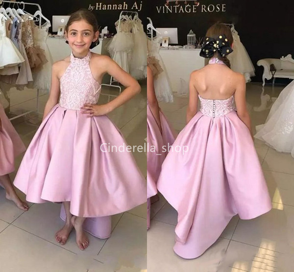 Pink High Low Girls Pageant Dresses 2019 Halter Lace Ruffles Kids Birthday Party Dresses Satin Customized Flower Girls Dresses For Wedding