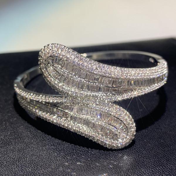 Joyería de lujo hecha a mano 925 plata esterlina en forma de T blanco claro Topaz CZ Diamond Eternity Cruz brazalete de las mujeres pulsera de la muñeca de regalo