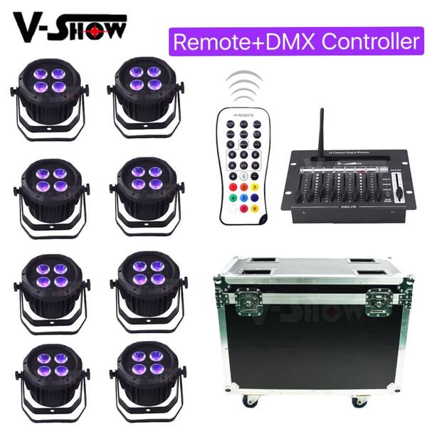 8pcs con 24CH DMX Controller 4x18W batería RGBWA + UV 6in1 LED uplight control remoto DMX led par para iluminación de la boda del hotel