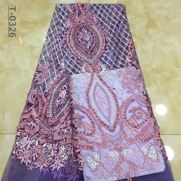 New Design African Mesh Lace Beads Fabrics High Quality French Tulle Net Lace Fabric Embroidery Nigerian For Weddng Evening Dress