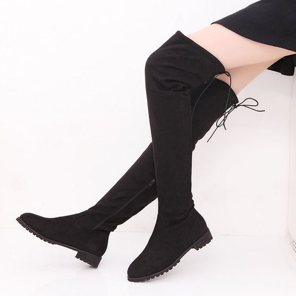 2019 Fashion Women Winter Shoes New Over The Knee Boots Women High Boots Warm Fur Snow Flats Shoes Bota