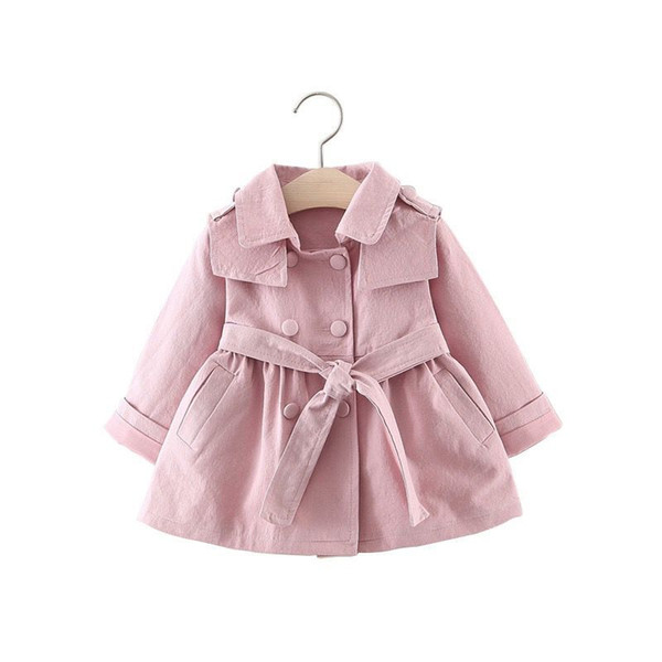 Spring Autumn Girls Cardigan Baby Infants Double Brested Kids Princess Children Outwear Belted Trench Coats Belt Windbreaker