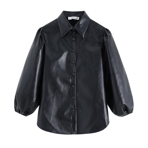 Vintage Black Leather PU falso Blusa Mulheres 2019 Moda Turn Down Collar lanterna camisa de manga Streetwear Blusa Top Blusas
