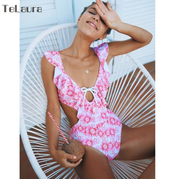 2018 Sexy One Piece Swimsuit Women Swimwear Off Shoulder Push Up Monokini Bodysuit Ruffle Swimsuit Solid Hollow Out Bathing Suit Y19052001
