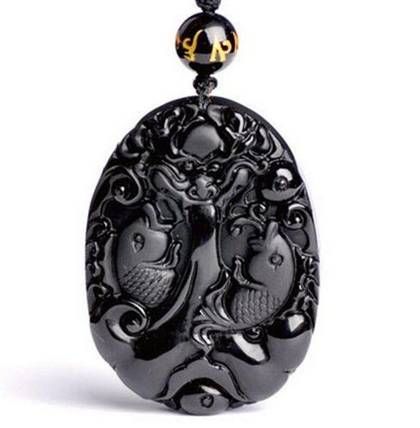 Natürlicher schwarzer Obsidian Anhänger Hand geschnitzt Lucky Amulet Dragon saugen Fisch Obsidian Halskette mit Kette Geschenk