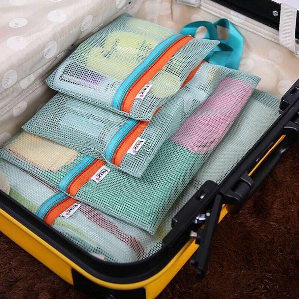 4 Set Cosmetic Bag Fashion Travel Women Make Up portable Case Organizer Storage Zipper Makeup Pouch Toiletry Beauty Wash Kit Box