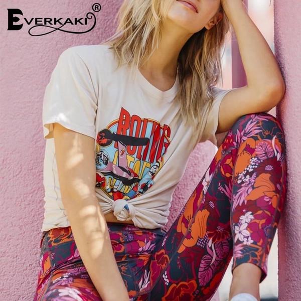 Everkaki Bohemian Vintage принт футболка женская летние топы хиппи топы тис женский 2019 новый женский Boho летняя одежда для женщин Y190508