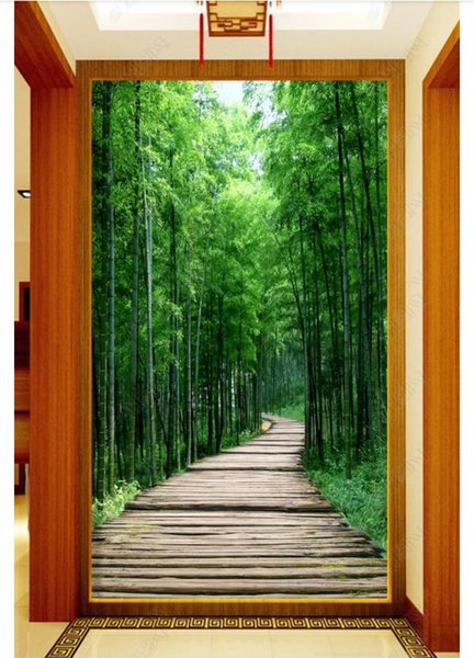 3D wallpaper custom photo silk mural wall paper Fresh bamboo forest board road 3D porch mural background wall stickers home decoration