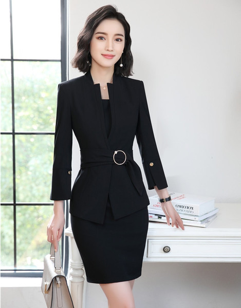 2019 Formal Ladies Dress Suits For Women Business Suits Jacket And Blazer  Sets Black Work Wear Office Uniforms Styles From Makechic, $81.46
