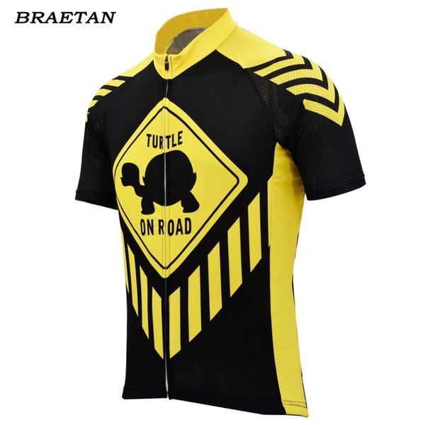 men cycling jersey turtle on road cycling clotthing black yellow bicycle clothing bike wear short sleeve bike clothing braetan