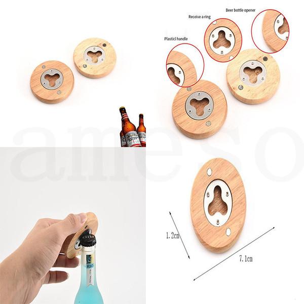 chaud blanc bricolage bière en bois ouvre-bouteille de forme ronde en acier inoxydable décapsuleurs Coaste Décor homeware dc932