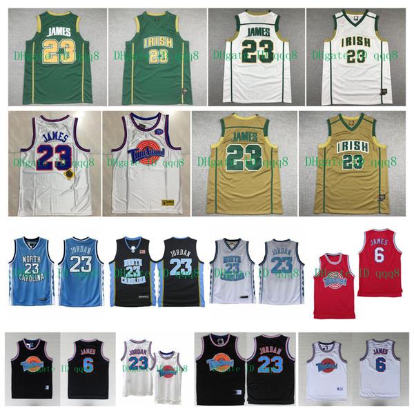 top popular LeBron 23 6 James Jersey St Vincent Mary Irish High School 23 Michael Jor dan North Carolina Tar Heels Jersey Tune Squad Basketball Jerseys 2020