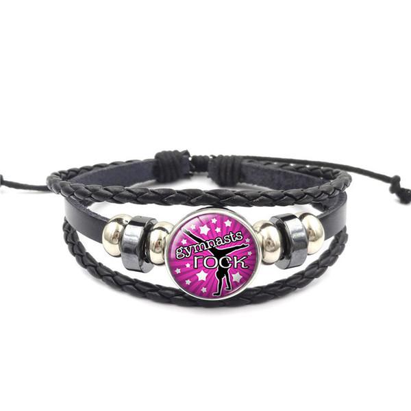Bulk Noosa Snap Button Tumble Gymnastics bracelets 18MM Glass Cabochon Ginger Charm Leather Rope Bangle For women men Fashion Sports Jewelry