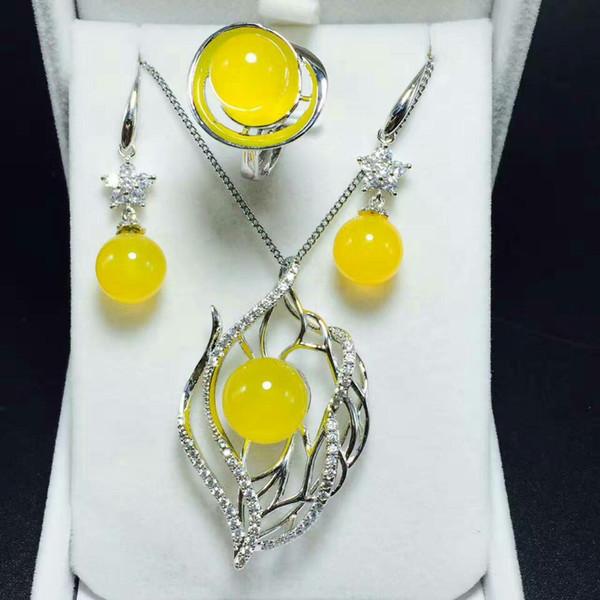 Estate nuova s925 argento intarsiato giada giada perla orecchini ciondolo anello tre pezzi set gioielli inviare certificato