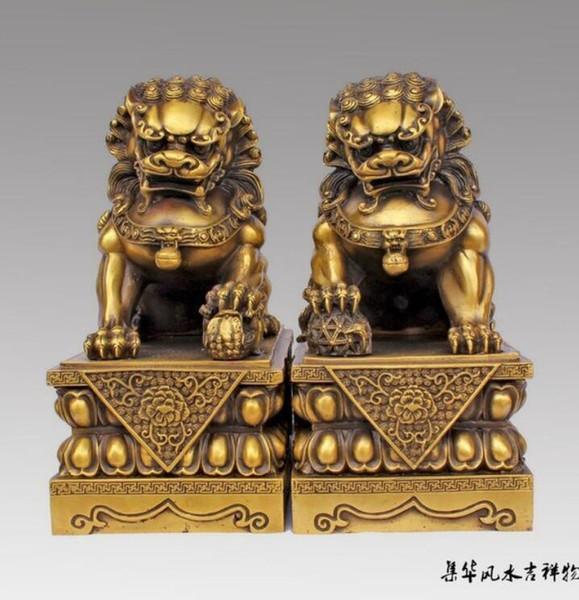 "New + SCY Large Pair Bronze Chinese Lion Foo Dog Statue Figure Sculpture Black 10""H vases sculpture, Garden Decoration Brass Bronze"