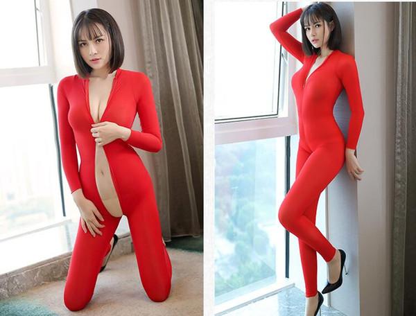 Women Sexy jumpsuit lingerie ultra-thin transparent underwear bustiers Corsets vetement femme double-headed zipper body suits wholesale