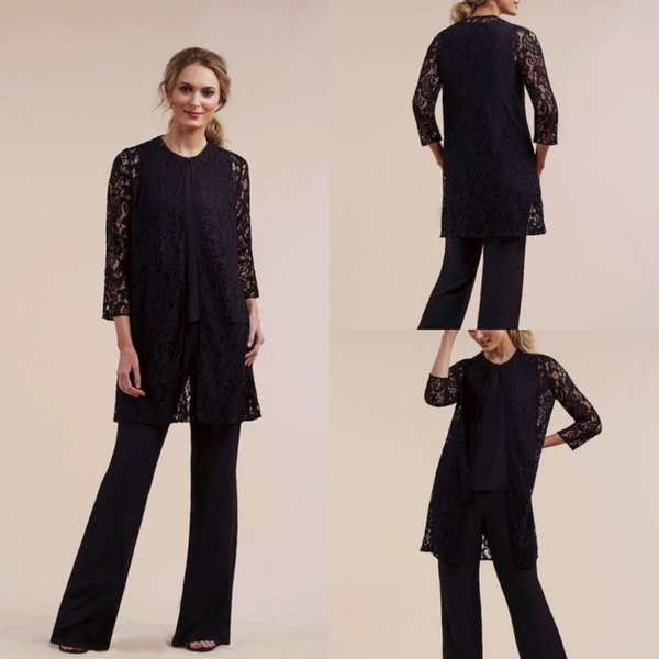 2019 Black Three Pieces Mother of the Bride Pant Suits Plus with Lace Jacket Plus Size Long Sleeve Formal Evening Gowns Prom Dresses