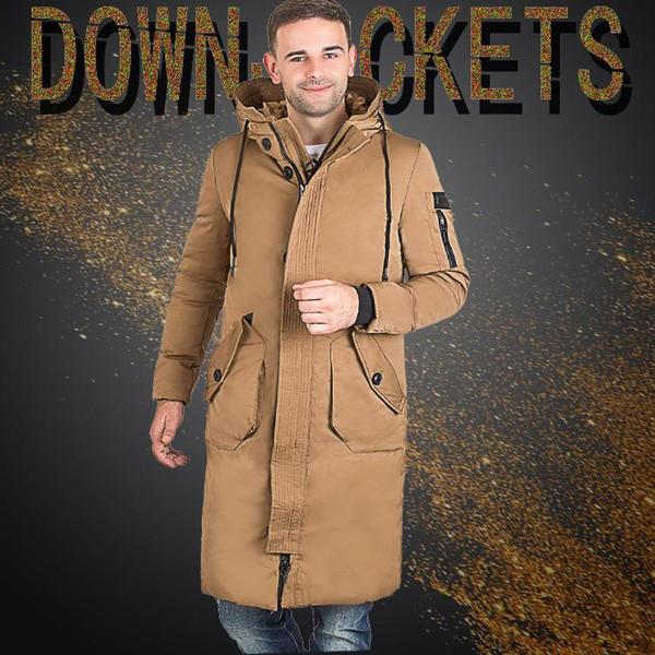 Мужчины Зима На Открытом Воздухе Длинное Пальто Утка Пуховик Утолщение С Капюшоном Army Green Куртка Пальто Бесплатная Доставка Большой Размер 3xl