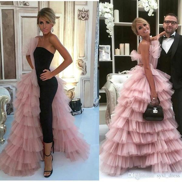 Chic volants superposés Tulle rose Celebrity arabe robes de cérémonie, plus la taille des robes de bal 2019 robes de soirée douce 16 robes Abendkleid