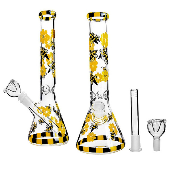Triangle Big Belly Yellow Flowers Bee Colored Glass Bongs Water Pipe Heady Smoking Accessories Dab Rig Recyling Water Pipe Accessories