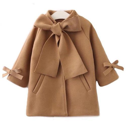 Emmababy Stock Kid Baby Girl Winter Warm Wool Bow Coat Overcoat Outwear Jacket Clothes