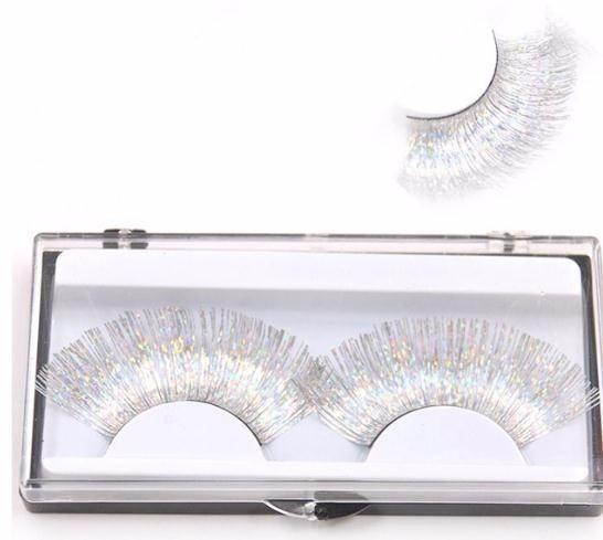 Gold Silver Line 2019 False Eyelashes White Cross Curl Thick Long Fake Eyelashes Fashion Makeup Art Lashes
