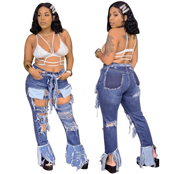 Más calientes Agujeros rasgados atractivos de las mujeres de moda de los tejanos de la llamarada de fondo de moda los pantalones de las muchachas Denim Pockets nuevas llegadas Real Fotos