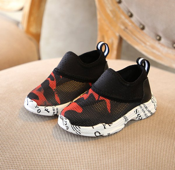 2019 New Baby boys shoes kids camouflage sports casual shoes children letter printed mesh breathable running shoes kids toddler shoe F3864